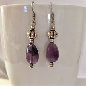 Purple Stone Silvertone Bead Drop Earrings